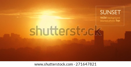 Sunset in city. Blurred photo background, vector illustration