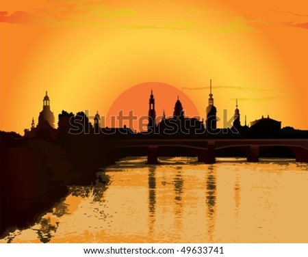 Sunset in the old town - stock vector