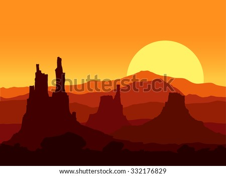 Sunset in the Rocky Mountains. Vector illustration.  - stock vector