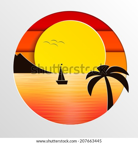 sunset in the sea vector illustration - stock vector