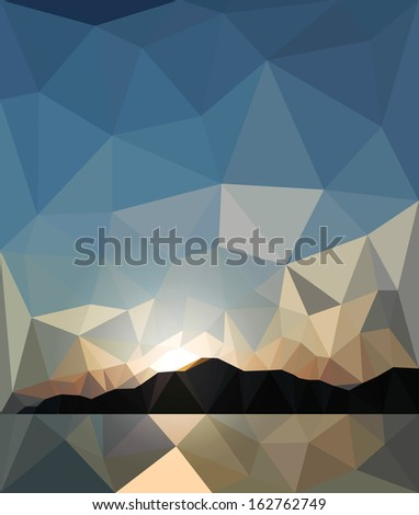 sunset in the style of origami - stock vector