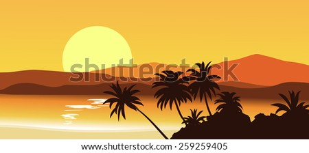 Sunset in the tropical mountains. Vector illustration. - stock vector