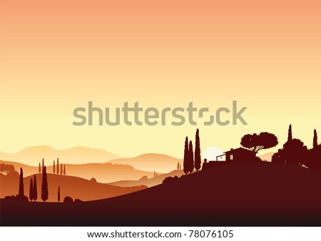 Sunset in Tuscany - stock vector