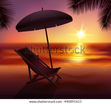Sunset lounge and umbrella on beach in tropics background cartoon vector illustration - stock vector