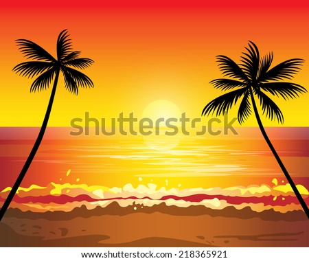 Sunset ocean summer beach with tropical palm tree over horizon - stock vector
