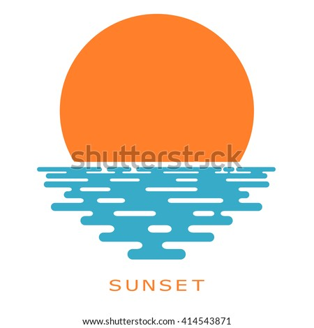 Sunset on a white background. sunset sun, icon, isolate. Flat sunset, color illustration. The sun and the sea, the sign of the nature. Sea sunset or sunrise. Stock vector - stock vector
