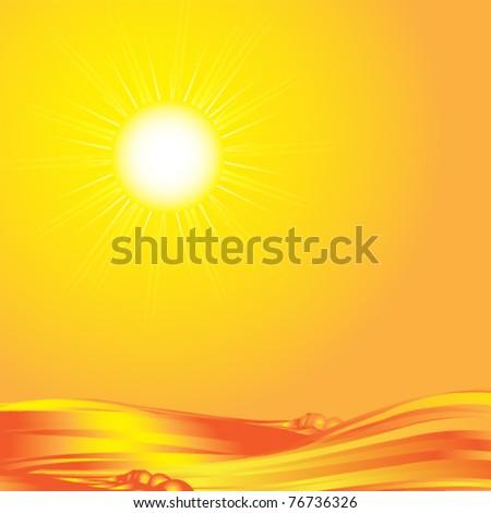 sunset on sea eps10 - stock vector