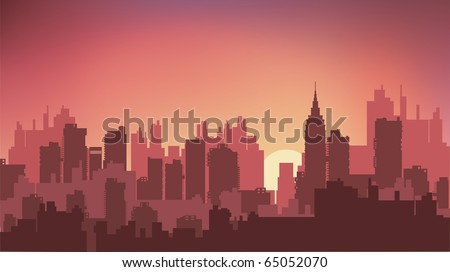 Sunset on the background of the city at night