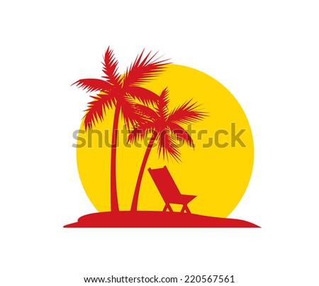 Sunset on the Beach - stock vector