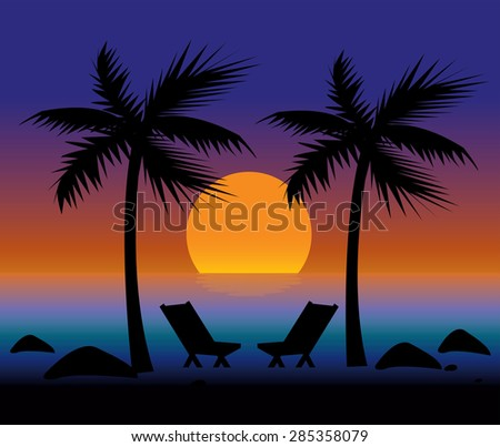 Sunset on the Beach for Romantic Couple