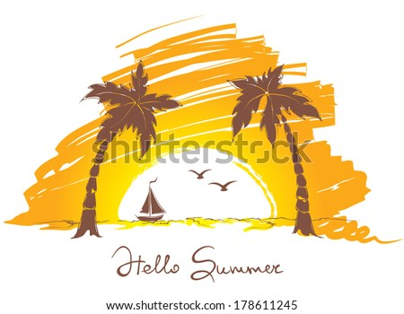 Sunset on the beach with a small boat - stock vector
