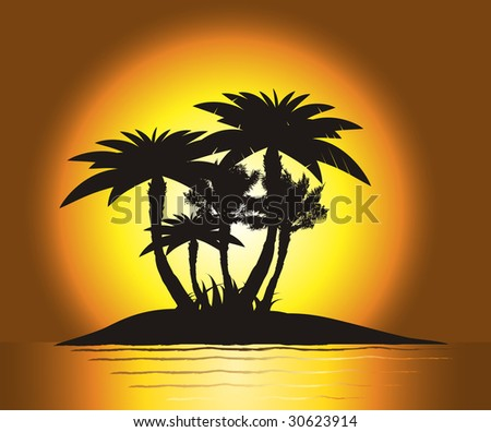 Sunset on the island with palm's silhouette, vector