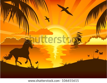 Sunset on the sea overlooking the beach and swim sailboat (illustration) - stock vector