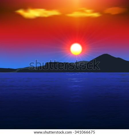 Sunset on the sea with views of the mountains/Sunset on the sea with views of the mountains/Sunset on the sea with views of the mountains - stock vector