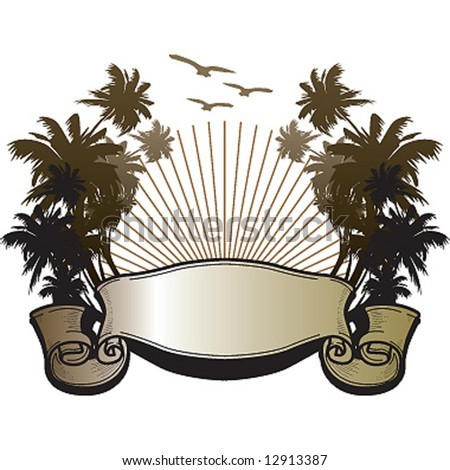 sunset palms shield - stock vector