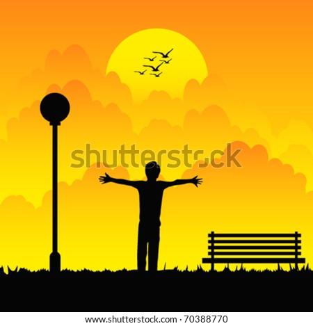 sunset scenery - stock vector