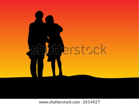 sunset silhouette of a couple