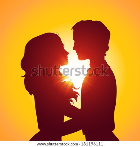 Sunset silhouettes of kissing couple. Eps10 vector illustration - stock vector