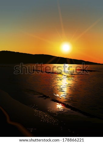 Sunset / sunrise over beach with calm sea level, small waves and sun reflections - vector illustration - stock vector