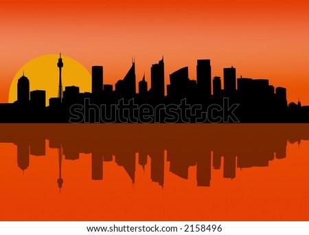 sunset - Sydney CBD at dawn [VECTOR] - stock vector