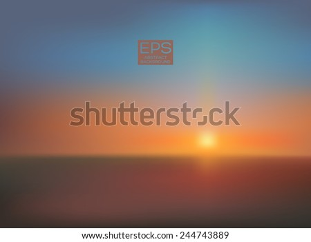 Sunset. Vector art. Illustration of soft colored abstract background. Web and mobile interface template. Travel corporate website design. Minimalistic backdrop.Editable. Blurred. Landscape. Light rays - stock vector