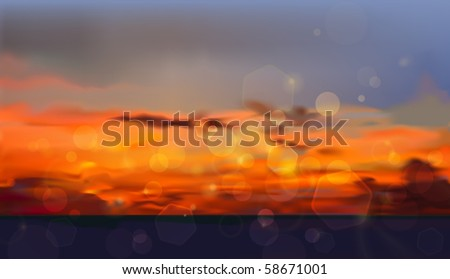 sunset vector background - stock vector