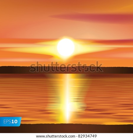 Sunset vector image - stock vector