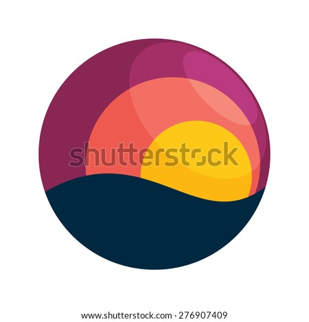 Sunset vector logo icon design template element - stock vector
