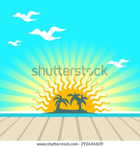 Sunset view in the pier with a tropical island, palm tree and seagull silhouettes - stock vector