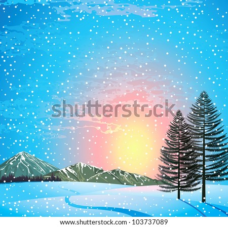 Sunset winter landscape with larches, forest and mountains
