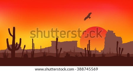 Sunset with Saguaro Cactus. Desert. Vector.