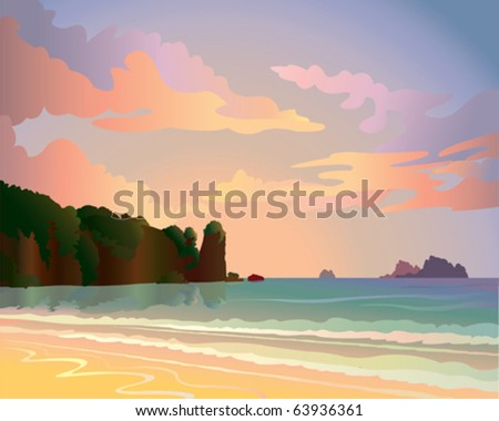 Sunset with sea and islands - stock vector
