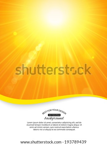 Sunshine background with blurred bokeh lights and place for text. Yellow summer sun light burst. - stock vector