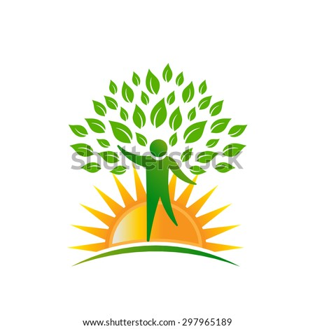 Sunshine people tree logo - stock vector