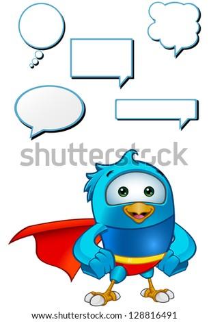 Super Blue Bird - Hands On Hips - stock vector