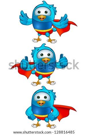 Super Blue Birds - Set 2 - stock vector