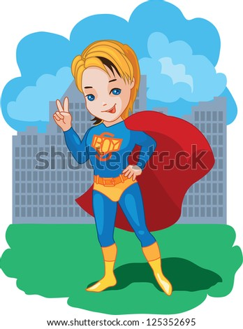 Super Boy with victory symbol vector illustration