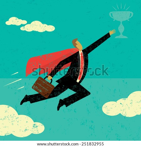 Super Businessman A super businessman flying high to achieve his goal. The man and trophy are on a separately labeled layer from the background. - stock vector