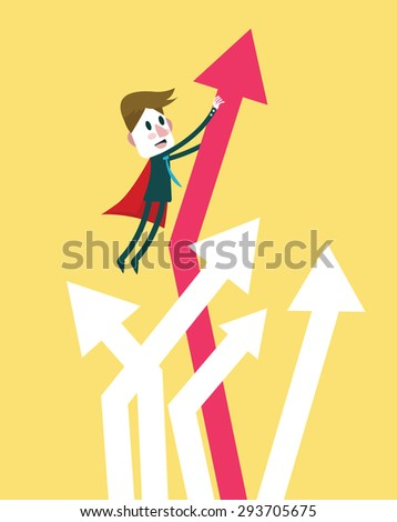 Super businessman bring graph growth up. flat design character. vector illustration