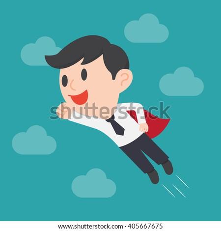 Super businessman, Business concept cartoon illustration - stock vector