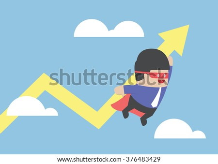 Super businessman carrying growing graph, VECTOR, EPS10 - stock vector