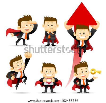 Super Businessman set - stock vector