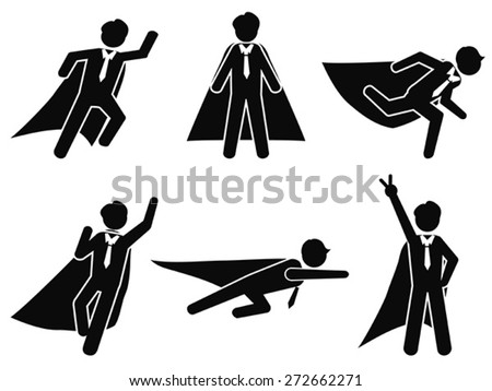 super businessman stick figure pictogram illustration vector - stock vector