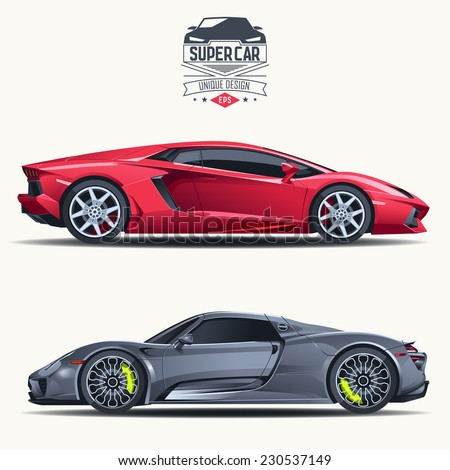 Super car design concept. Unique modern realistic art. Generic luxury automobile. Car presentation side view - stock vector