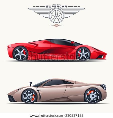 Super car design concept. Unique modern realistic art. Generic luxury automobile. Car presentation side view - stock vector
