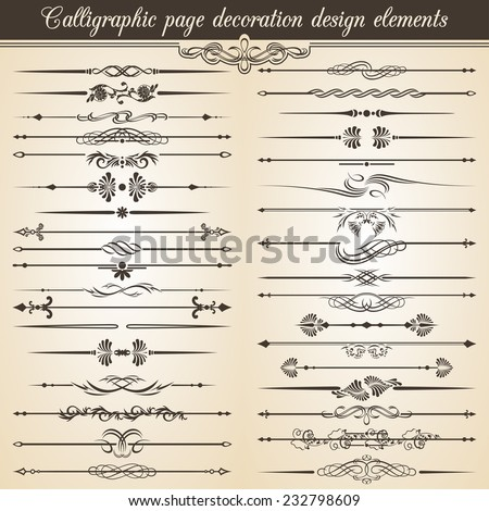 Super Collection. Calligraphic vintage page decoration design elements. Vector Card Invitation Text Decoration