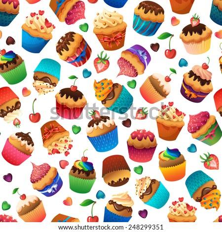 Super cupcake seamless pattern. Chocolate cherry vanilla desserts - stock vector