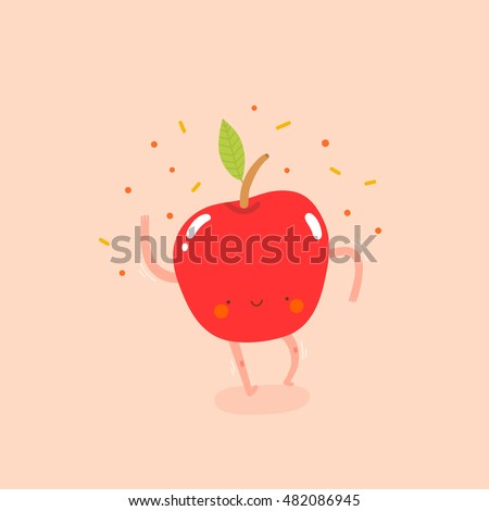 Super cute illustration with Dancing Apple. Funny fruit drawing in cartoon style. Smiley Apple character.