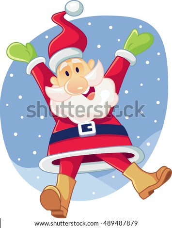 Super Excited Santa Claus Vector Cartoon - Illustration of a happy Santa waiting for Christmas