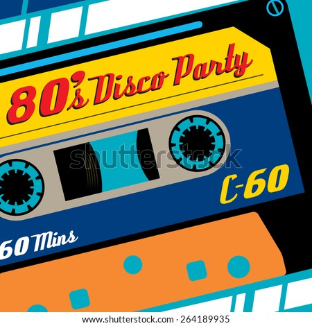 Super Funky Retro Eighties Styled Banner featuring old fashioned C60 Tape Cassette. - stock vector